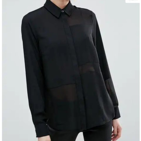 fed8fd25 Black sheer panel button down shirt from ASOS. This blouse a - Depop