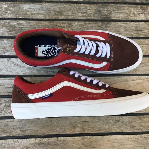33fafbef2a Vans Old Skool Pro Potting Soil Jester Red Size 12 Ultra - Depop