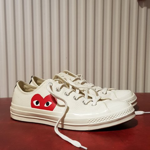 457bfb90422e Converse x Comme Des Garçons White and low top Size US 7   a - Depop