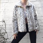 76d11831 Leopard print fur coat. White