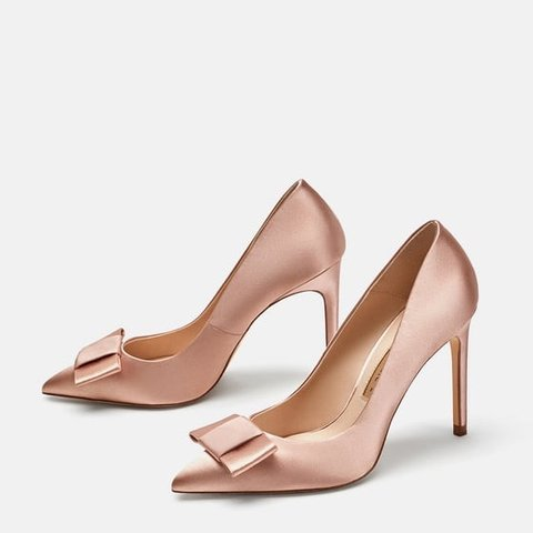 ZARA Satin Court Shoes with Bow New