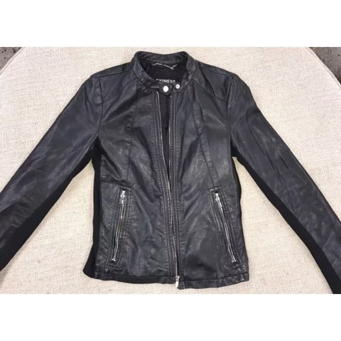 Express Leather Jacket Sz M Faux Leather Jacket Band Us Depop