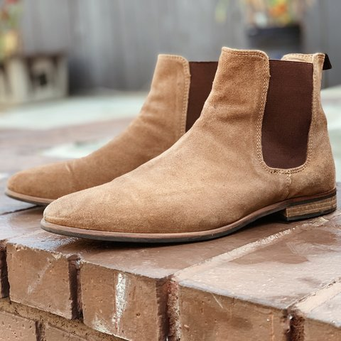 Men S Tan Suede Chelsea Boots By Topman Used Good Only Depop