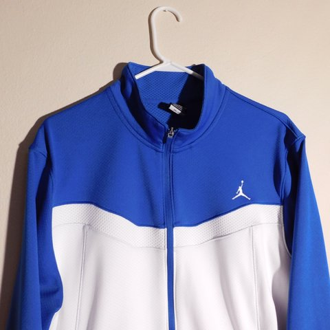 ad30add2ba8d Blue and White Jordan light zip up jacket in excellent No - Depop