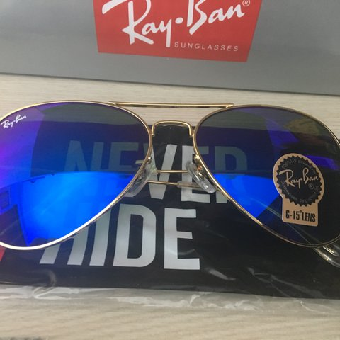 2fcd14fbf5 Brand new Rayban Aviators for sale. Gold frame with a dark - Depop