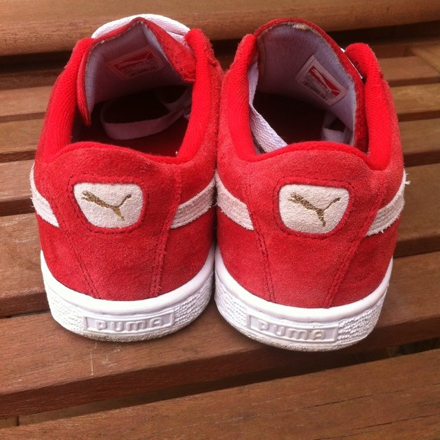 47d08210b63 Red Puma Suede Trainers - Size 5.5 (would fit a size 5 or a - Depop