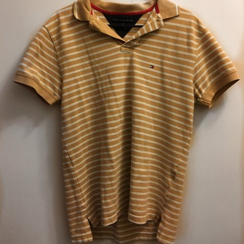 437a4ca1 @abbybeaird. last year. New York, United States. Yellow and White Striped  Tommy Hilfiger Polo Shirt!