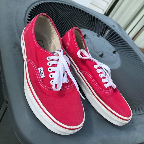 bf5b662a5a6 Vans Authentic Red   White size  6.5 men 8 women good plus - Depop