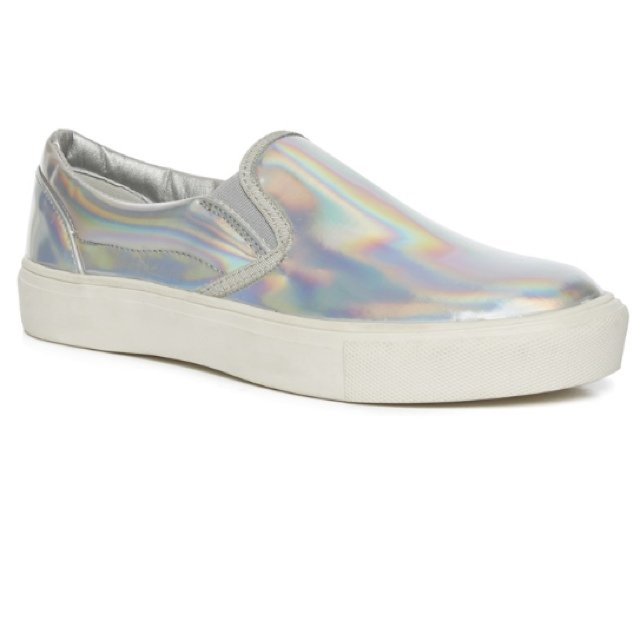 Holographic  iridescent shoes in white. Unisex UK size 8 in