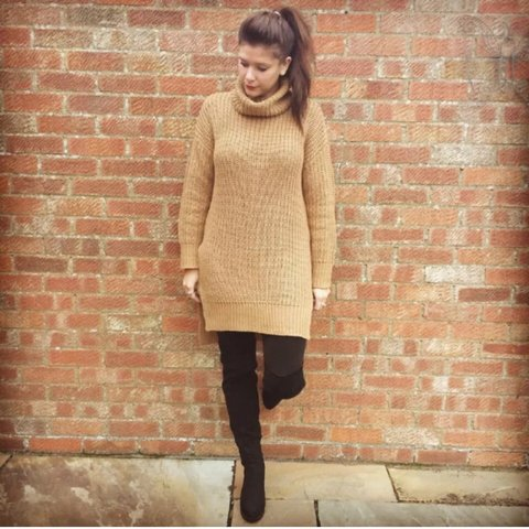 750888ed44 Camel oversized jumper dress from Asos size XS only worn a - Depop