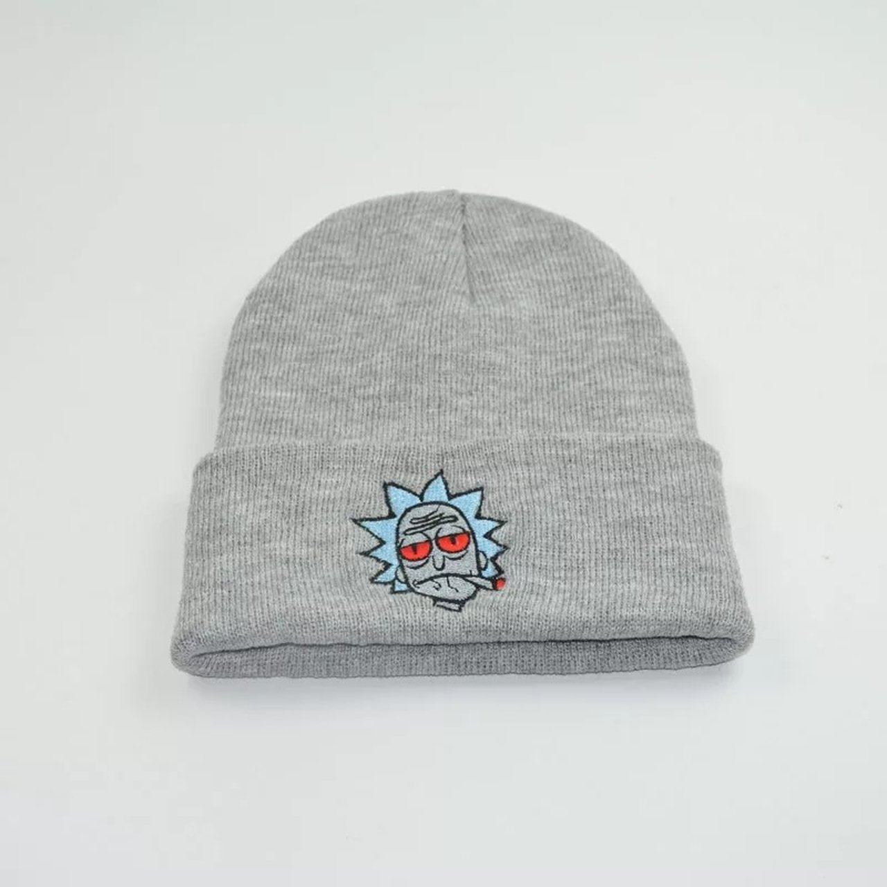 Stoned Rick beanie in grey Rick and Morty adult swim rick - Depop 8096ae267413