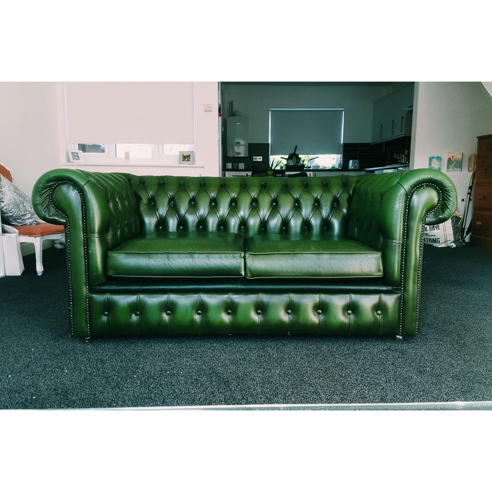 Tremendous Antique Forest Green Leather Double Sofa Pretty Depop Gmtry Best Dining Table And Chair Ideas Images Gmtryco