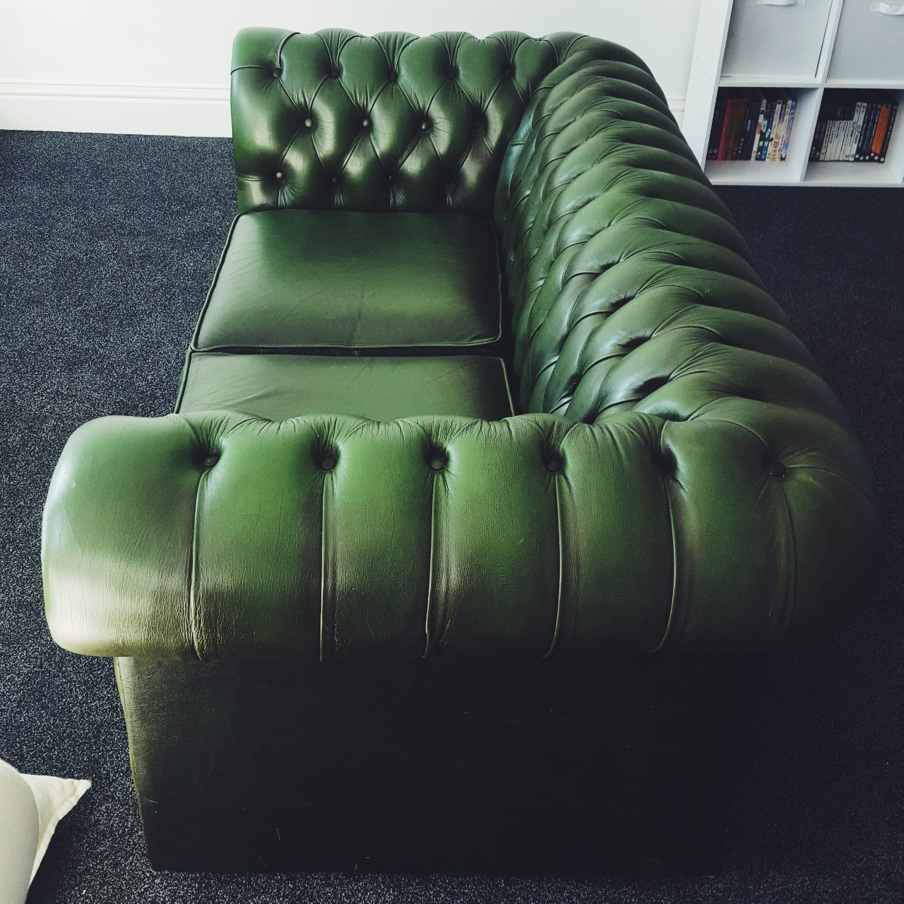 Super Antique Forest Green Leather Double Sofa Pretty Depop Gmtry Best Dining Table And Chair Ideas Images Gmtryco