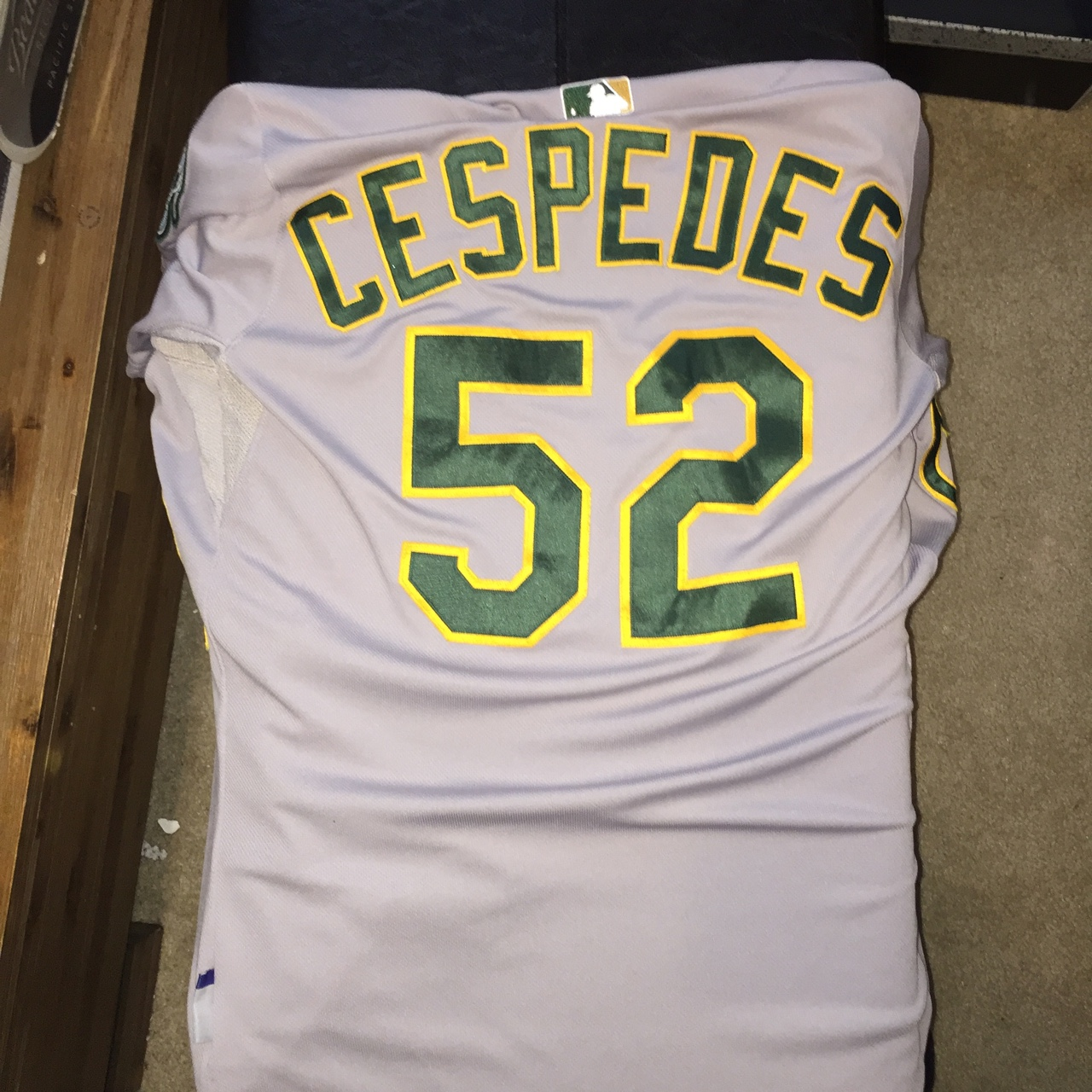 lowest price 05df6 22b73 Oakland A's cespedes jersey authentic cool base... - Depop
