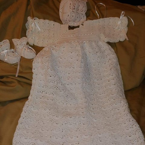 Thread Crochet Christening Gown With Matching Bonnet And Depop