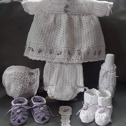 Thread Crochet Christening Gown Ensemble Depop