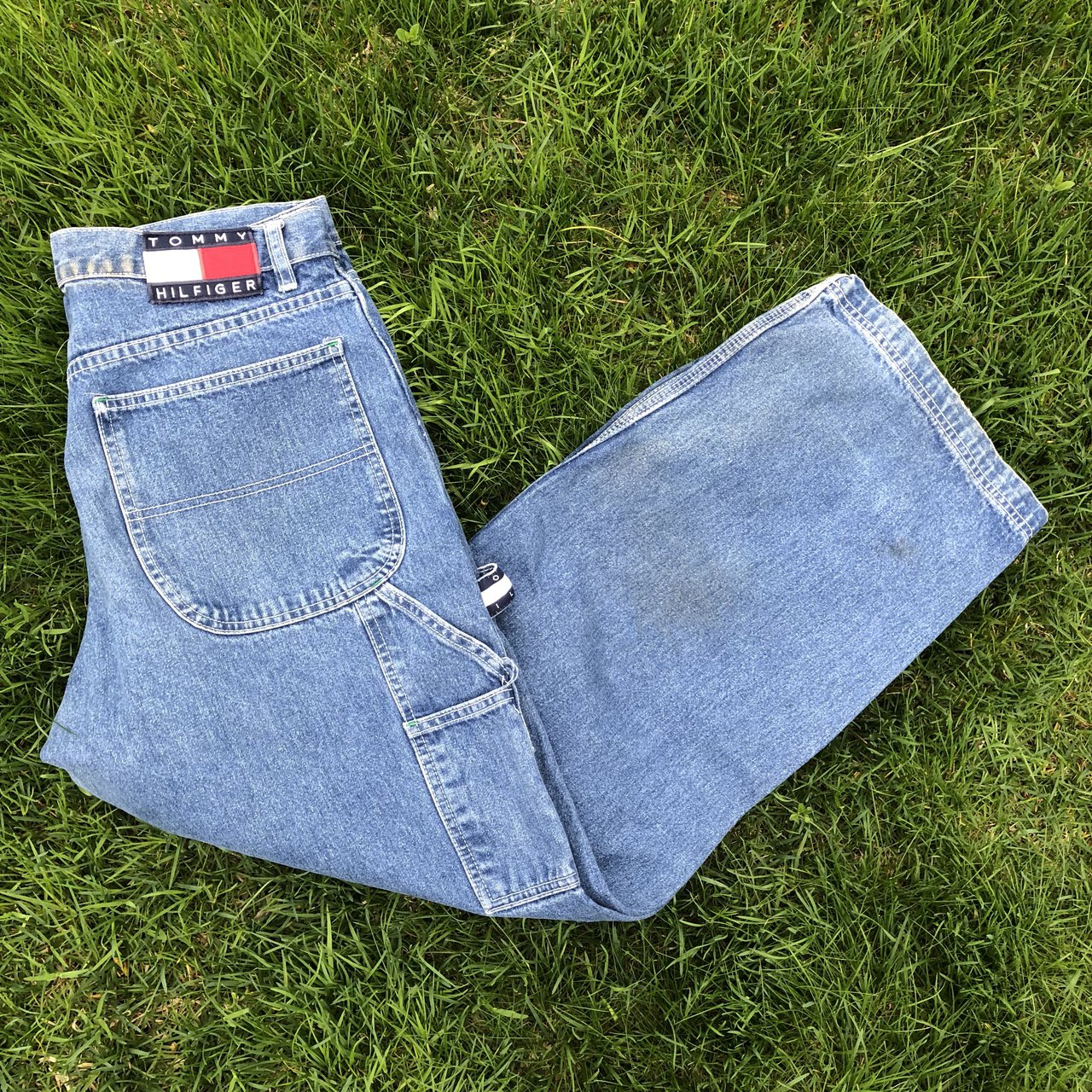 037e15d4e Incredible 90 s Tommy Hilfiger carpenter jeans. Good There + - Depop