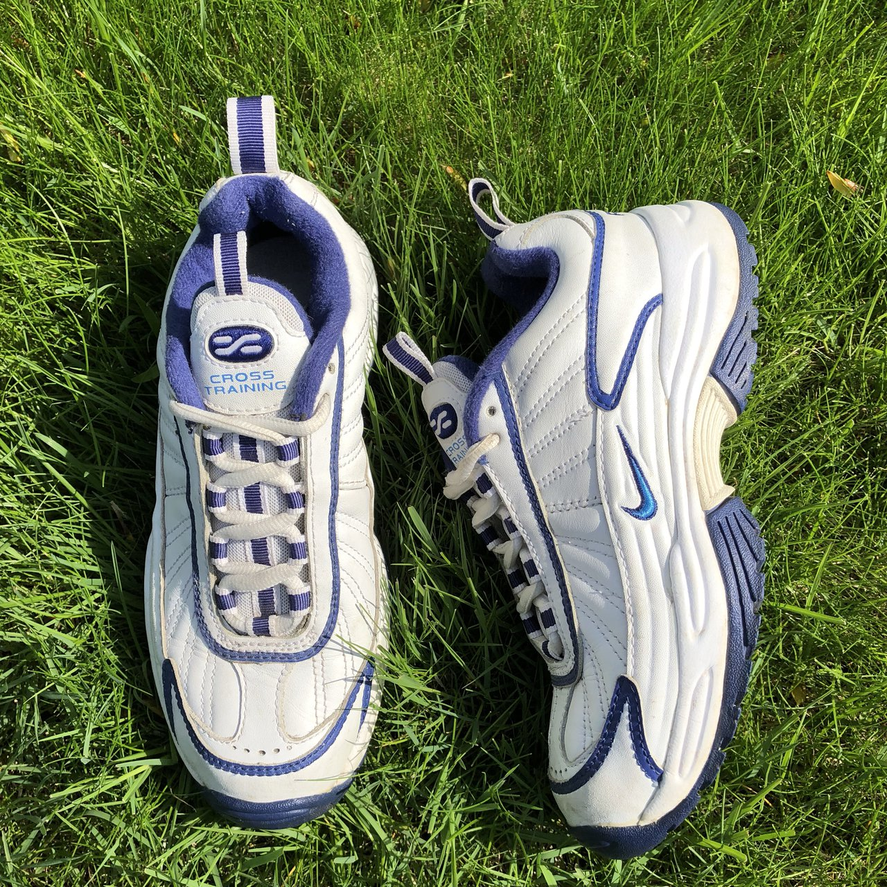 26dde9966ce7 Year 2000 Nike Air cross trainers in a blue   white color to - Depop