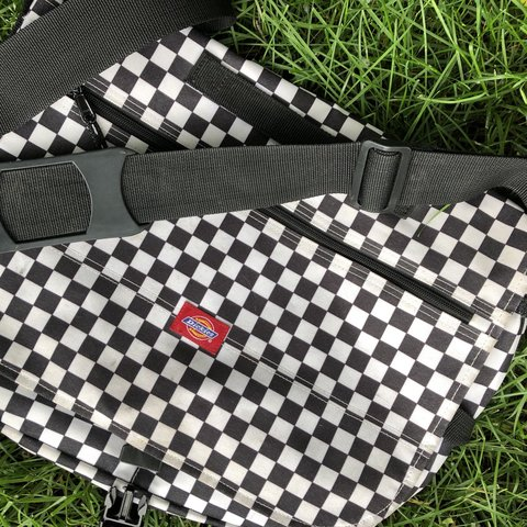 Black and white checkered dickies messenger bag. Great Has a - Depop 8f8e1d7b7b299