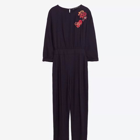 06e143190fca Zara navy floral embroidered jumpsuit with tie waist size M