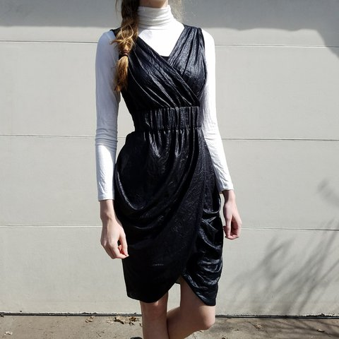 Bcbg Maxazria Black Sheershiny Tulip Wrap Dress Bcbg Black Depop