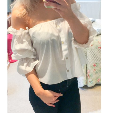 c59d40d6 White Bardot style top. Off the shoulder and puffy sleeves. - Depop