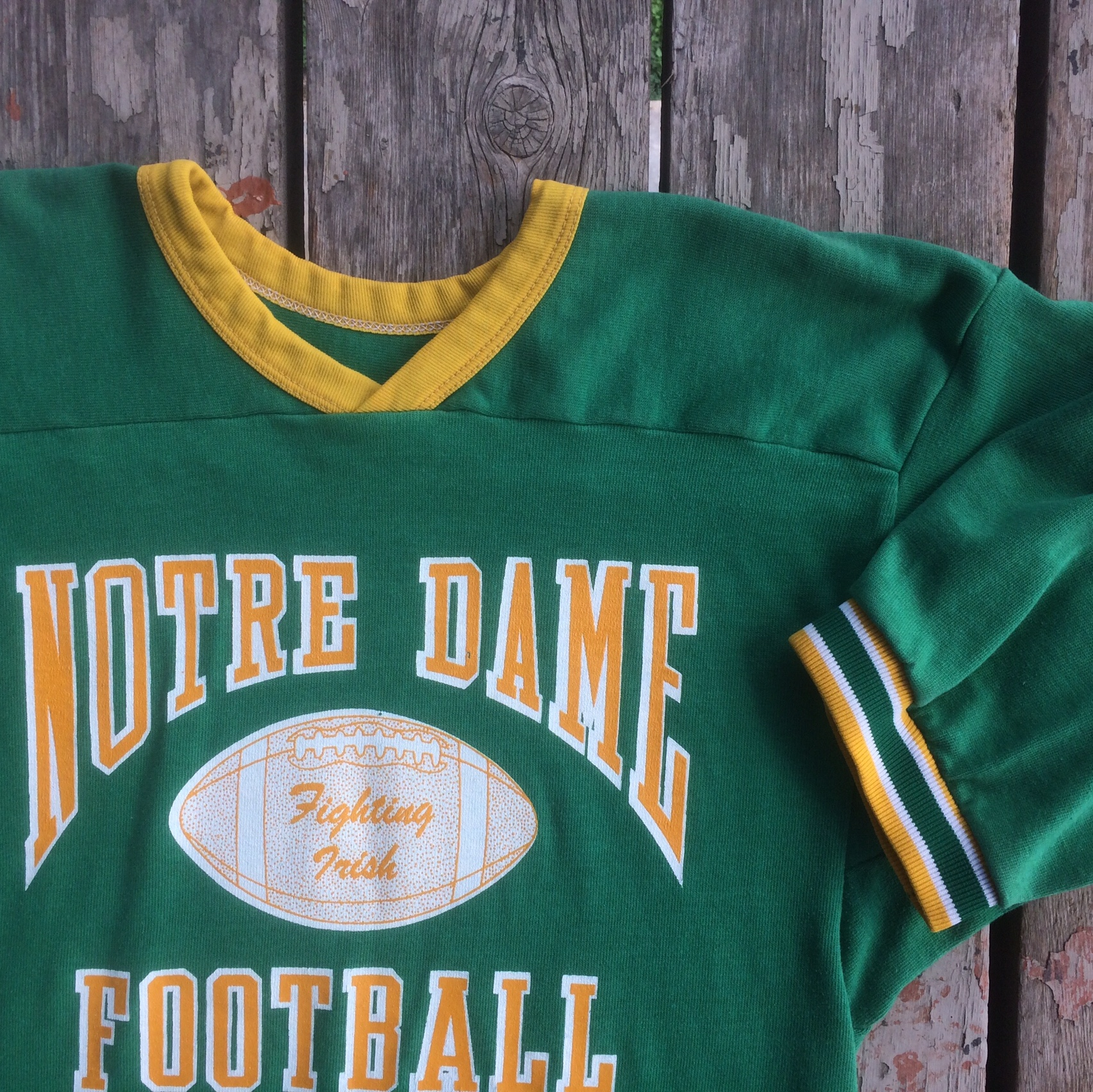 huge selection of 160d5 ce816 Notre Dame Vintage Jersey T Shirt Fighting Irish 70s... - Depop
