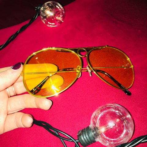 5ab77dfbfbaaa Gold frame aviators. Yellow tinted lenses Brown accents - Depop