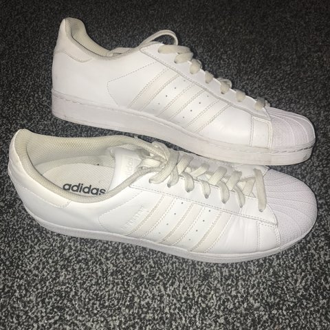 a266b23871ee3d Adidas All White Superstars - Size 11 - Excellent Trainer - Depop
