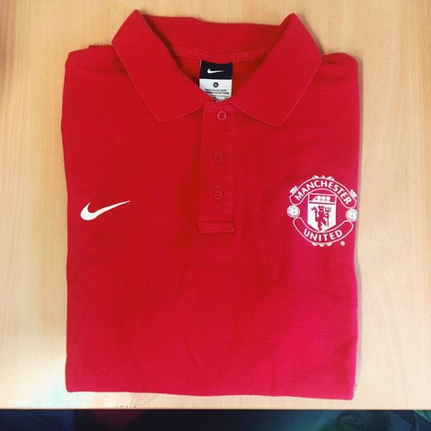 a6863af3134 Manchester United Nike polo shirt. Short sleeve red polo The - Depop