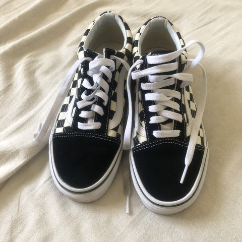 0b3c6a4fe39 Black and white checkered old skool vans! Size 6.5. I m a 7 - Depop