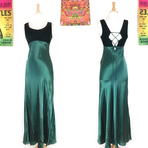 b2315f33ccad @spacedoutmama. last year. Cincinnati, United States. gorgeous 1990s maxi  dress with back corset lace up and crushed velvet ...