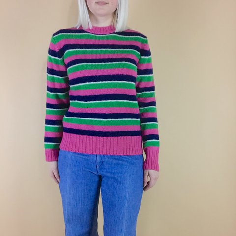 cute vintage 1970s 80s pullover striped sweater that needs A - Depop dc8f1ce37
