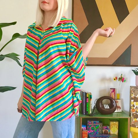 50d81468a Incredible 1970s rainbow striped poncho! DETAILS: +made by - Depop