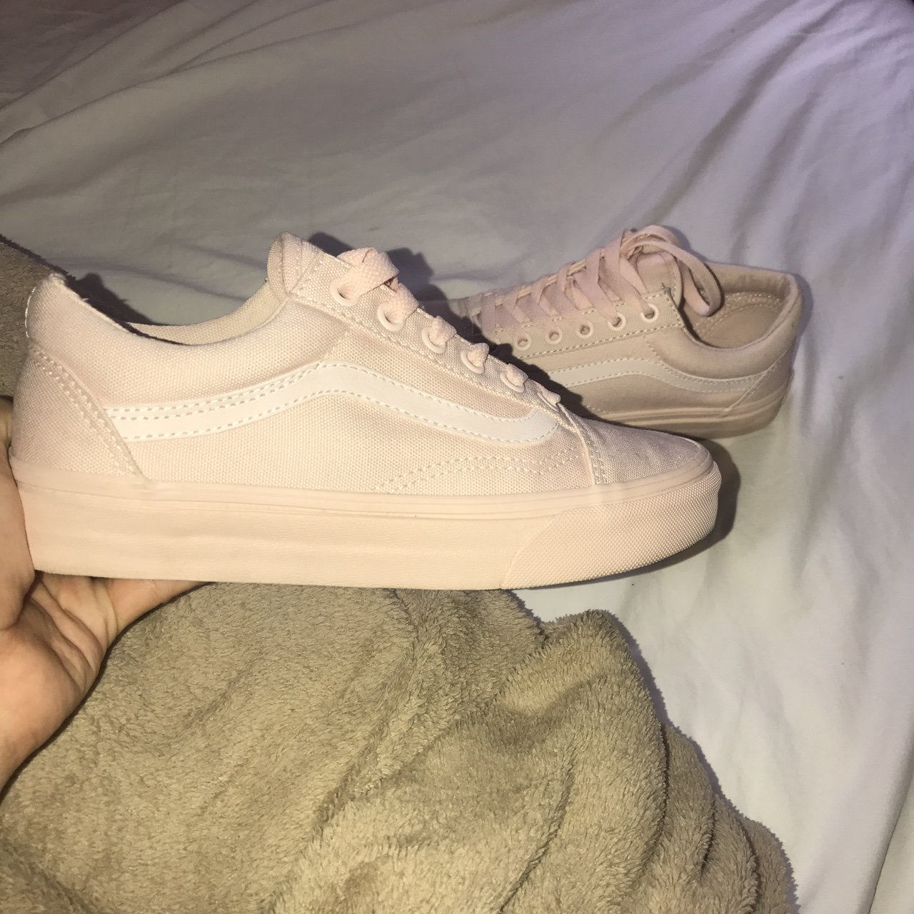 72e7a92911f767 On hold Mono canvas old school vans Peach blush Worn once - Depop