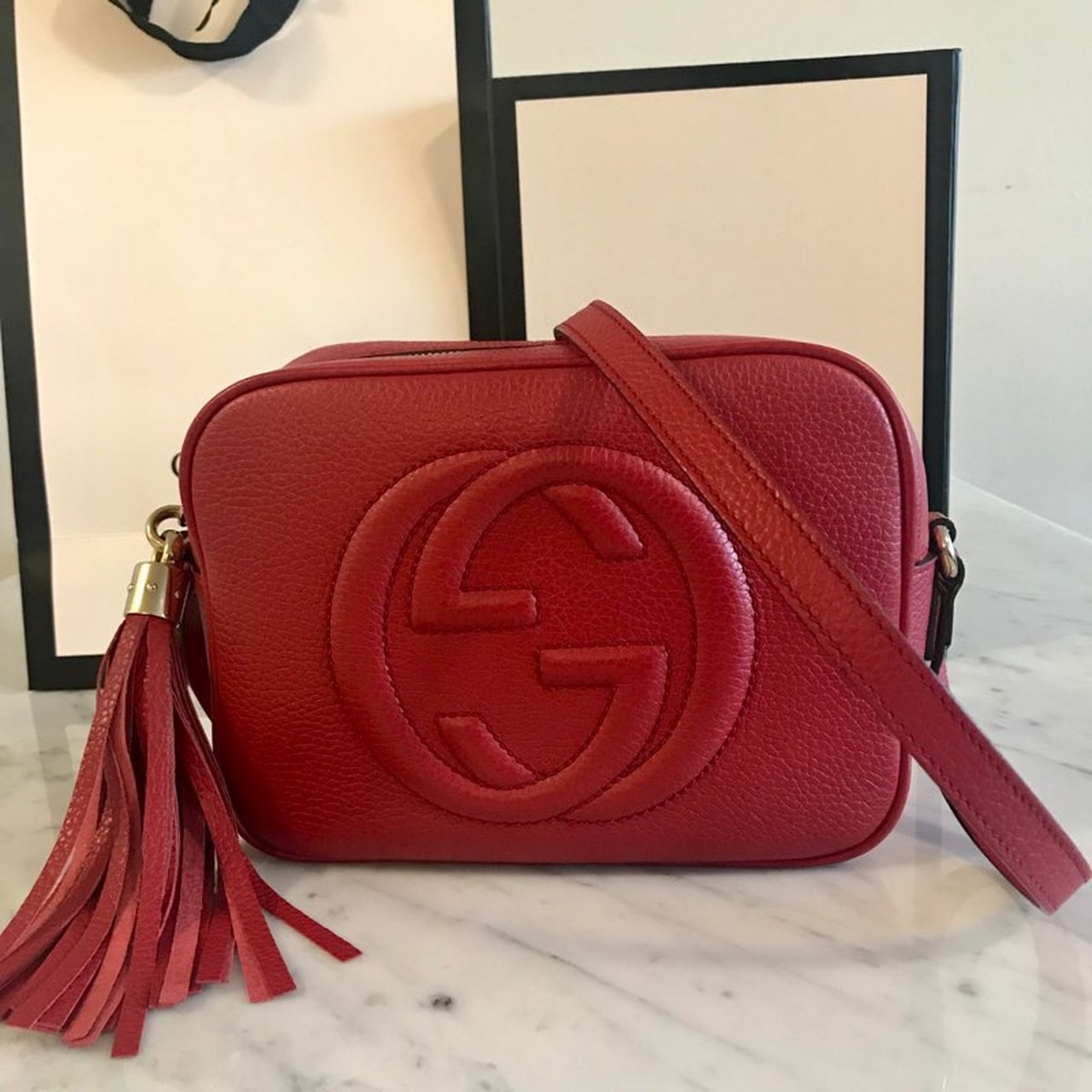 109d14be772a Authentic Gucci Red Soho Disco Bag Comes with box and a of - Depop