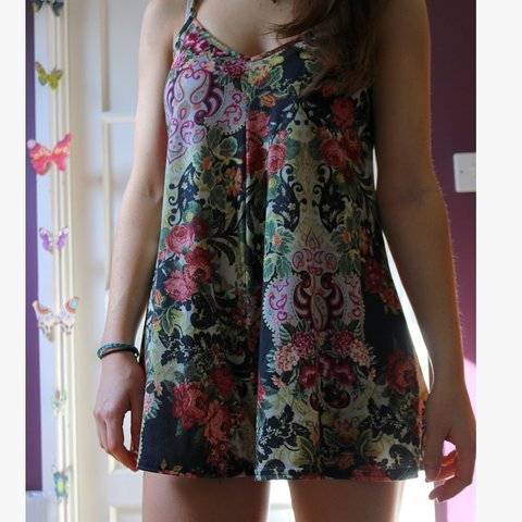 1ef83a832cc Boohoo floral patterned strappy playsuit. Size 12. Worn a in - Depop