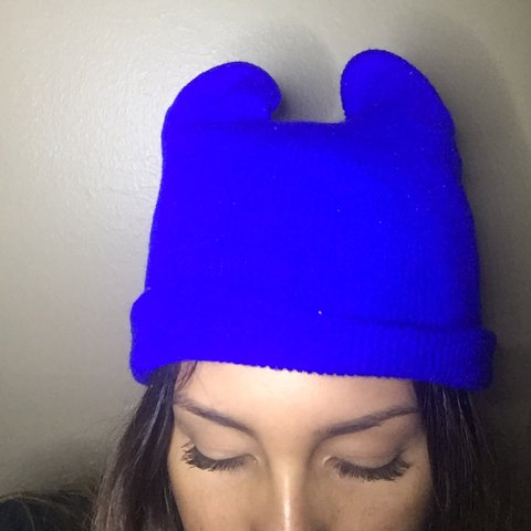 6348ac6ee24e4 💙📘Simple and plain royal blue beanie hat with hello Kitty - Depop
