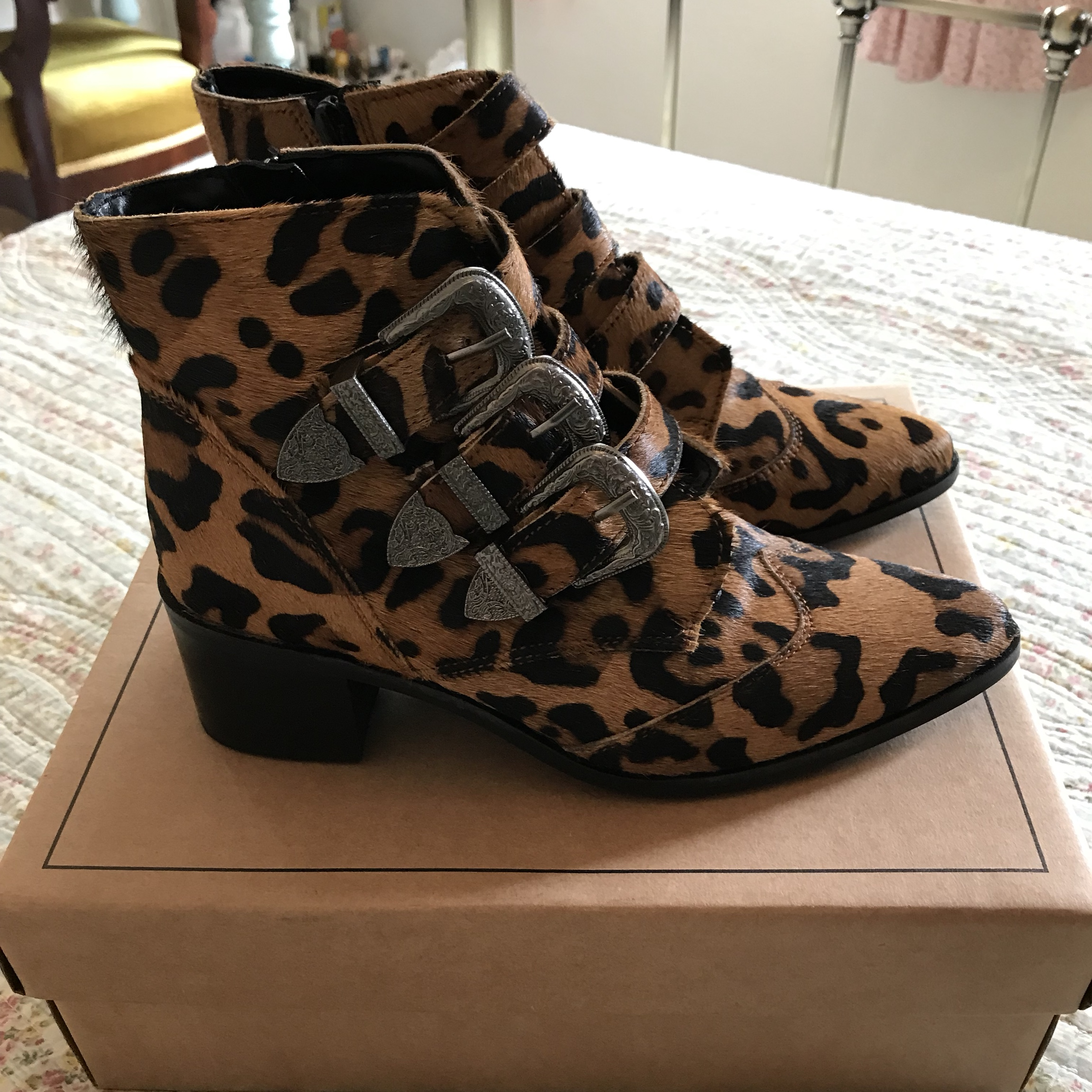 ASOS leopard print boots with inside