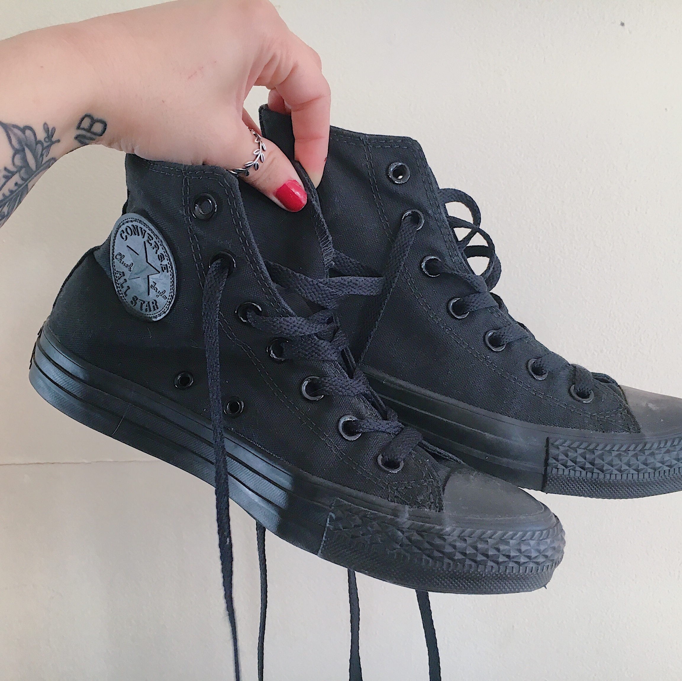 Black Converse All Star Chuck Taylor High Top Sneakers Like - Depop 214131be9