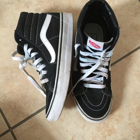 Old Skool vans . They are high-tops or sk8-hi and are size 4 - Depop dc77733a3