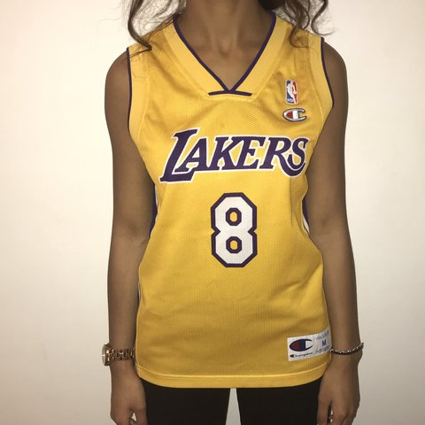 34aefb5199d @dannirenee_. 4 months ago. London, United Kingdom. LA Los Angeles Lakers  NBA Champion Kobe Bryant 8 Yellow Purple Basketball Jersey Vest Top Vintage  Retro ...