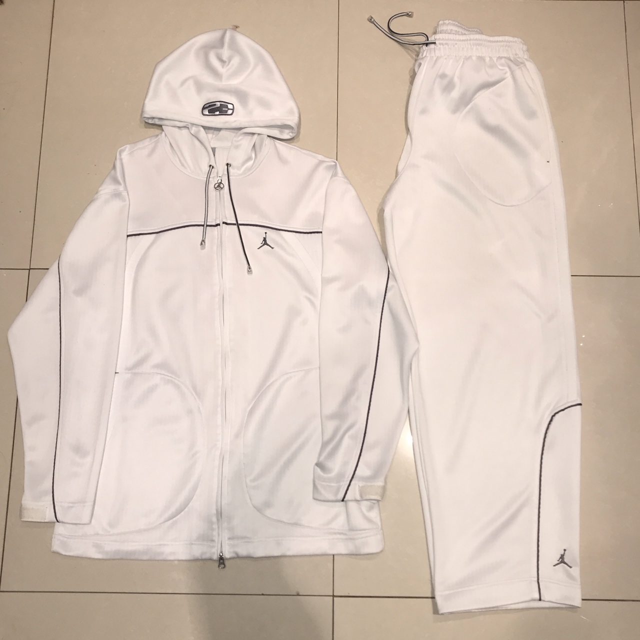 free delivery official store aliexpress Nike Air Jordan Vintage White Grey Tracksuit Top... - Depop