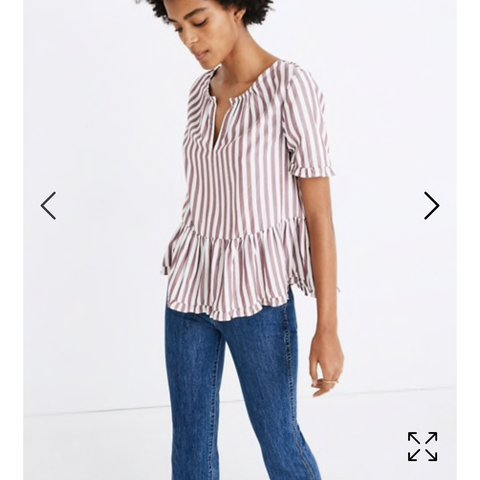 28cddd6525c3e4 @girlcrushclothing. 3 months ago. Denver, United States. Madewell Stanza  Ruffle-Hem top in a white and maroon striped ...