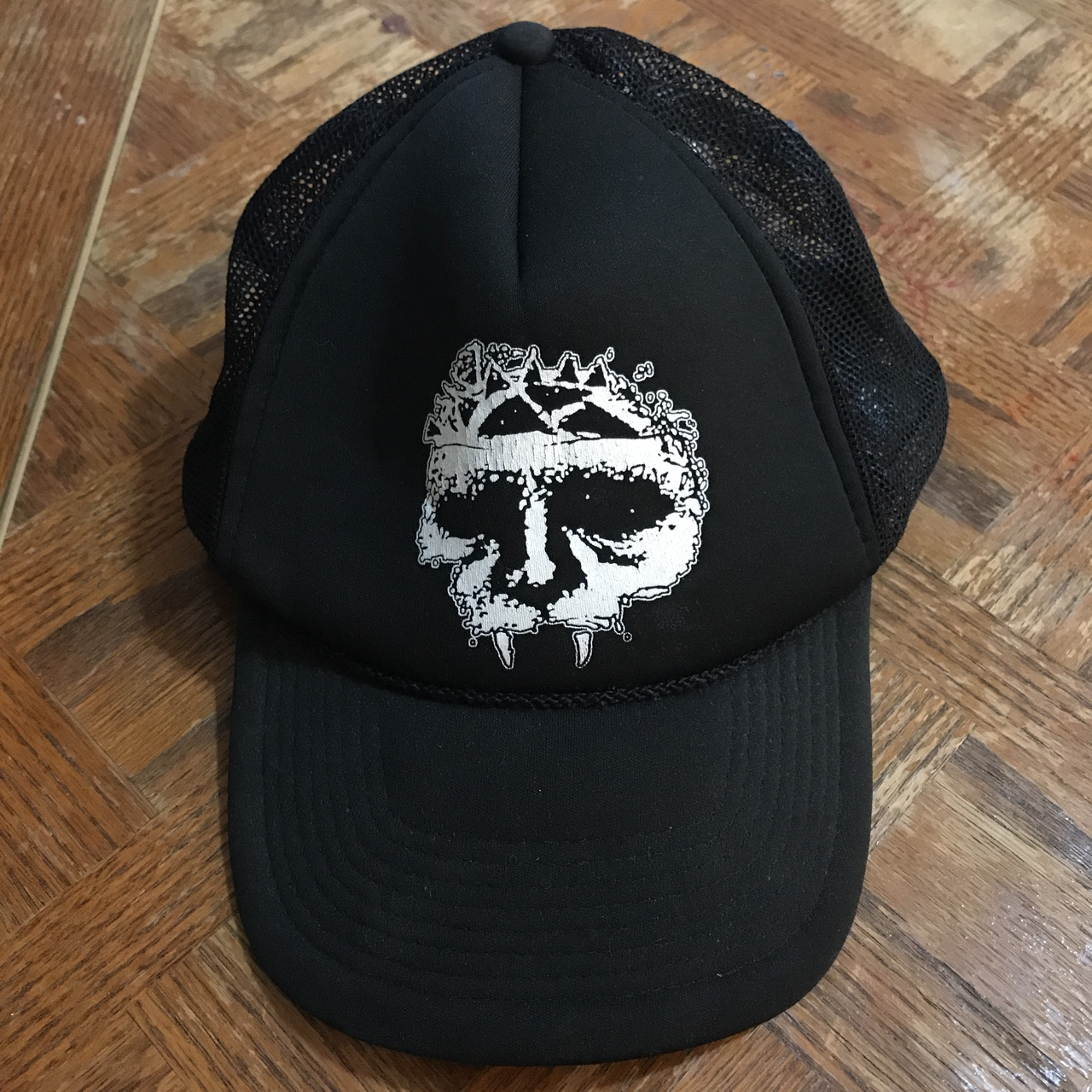 One Legging it Around of Course Im Right Leather Dark Brown Patch Engraved Trucker Hat Im A Bane!