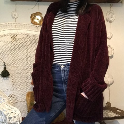 5cdf04070 Amazing 90s chenille cozy soft maroon double breasted cardi. - Depop