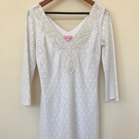 59ff760848a8 @farahsalam. 2 years ago. Miami, United States. Lilly Pulitzer crochet  white dress. Hem hits right above the knee. Never been worn