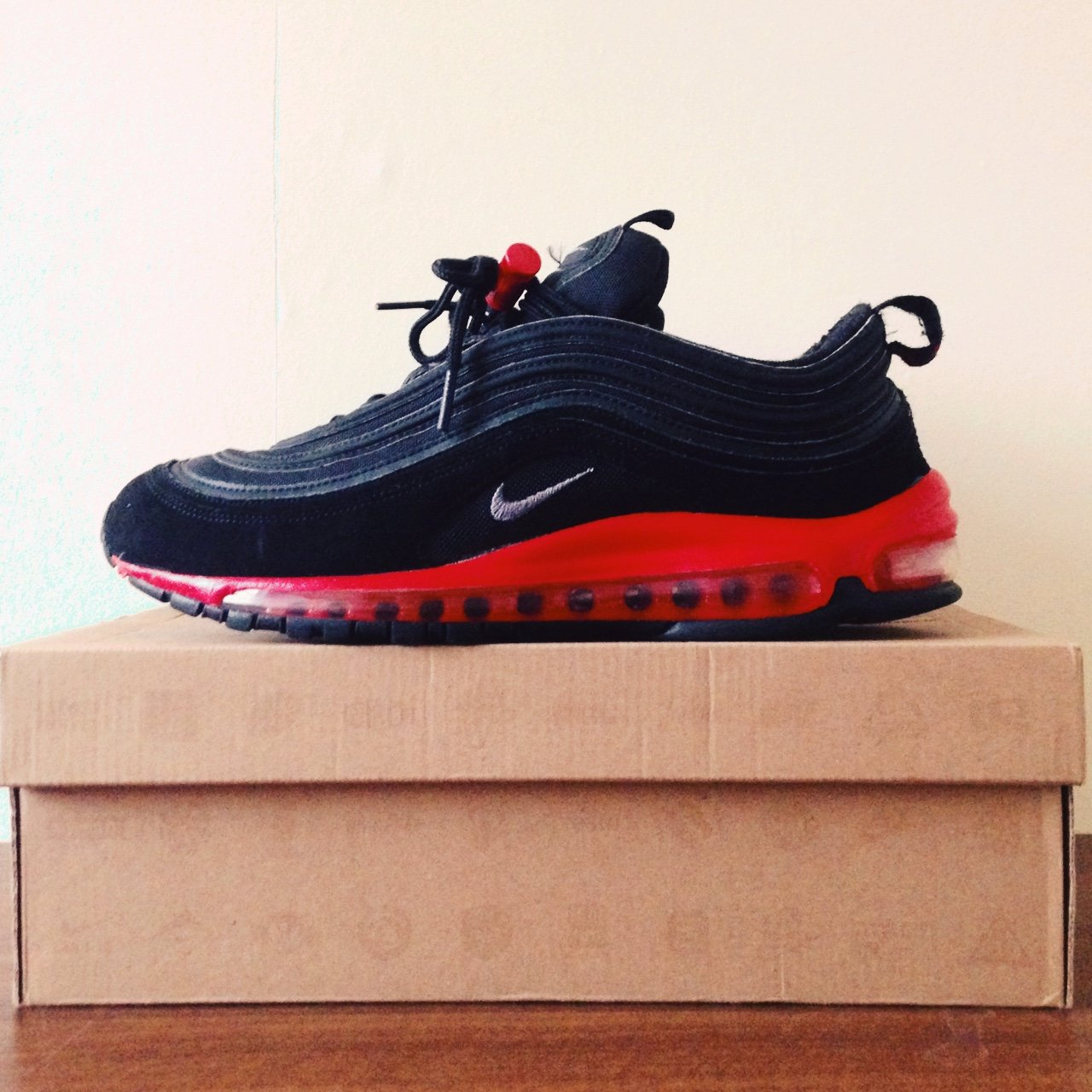436a53f1bfd539 NIKE AIR MAX 97 black   challenge red. Come with cool lace - Depop