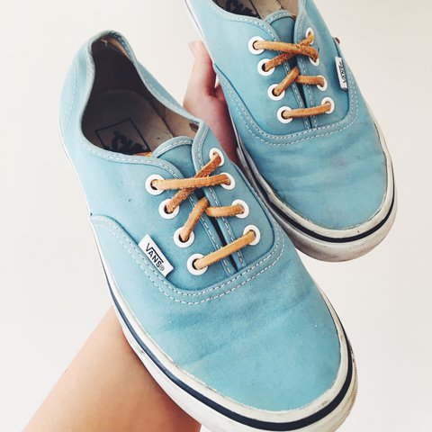 32f95c934d Teal authentic vans with brown leather laces