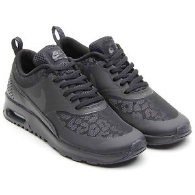 Nike Air Max Thea. All black with reflective leopard Depop